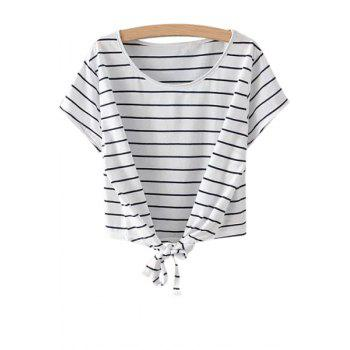 Fashionable Scoop Neck Stripe Tie Knot Short Sleeve T-Shirt For Women