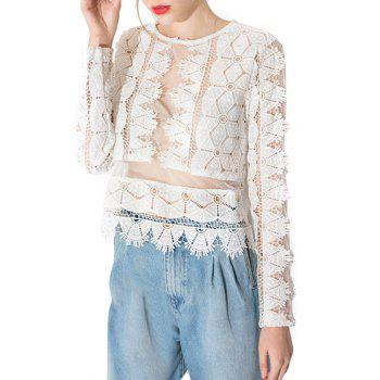 Stylish Round Neck Long Sleeve Lace See-Through Women's T-Shirt