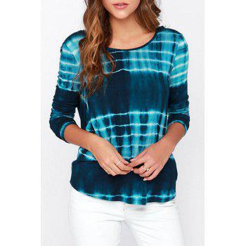 Stylish Round Neck Long Sleeve Tie-Dyed Stripes Open Bcck Women's T-Shirt