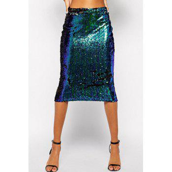 Fashionable Green Sequins Midi Skirt For Women