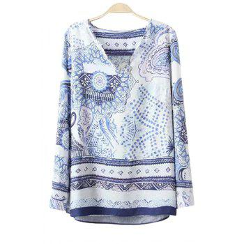 Fashionable V-Neck Polka Dot Floral Print Long Sleeve T-Shirt For Women