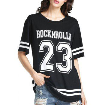Casual Style Jewel Neck Short Sleeve Number Pattern Women's T-Shirt