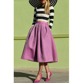 Fashionable Jewel Neck Stripe Long Sleeve T-Shirt + Solid Color Skirt For Women