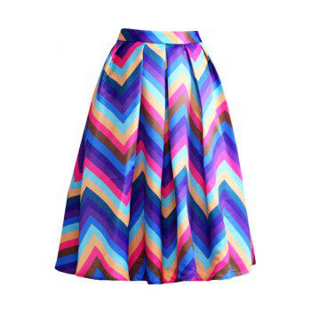 Stylish High Waist Zig Zag Print A Line Women's Midi Skirt