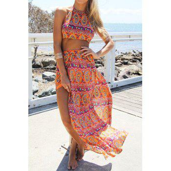 Stylish Halter Backless Crop Top + High-Waisted Ethnic Pattern Skirt Women's Twinset