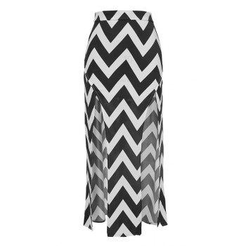Stylish High Waisted Zig Zag Pattern Slit Women's Skirt