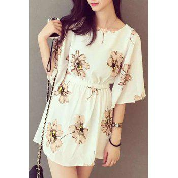 Sweet Floral Print Round Collar Half Sleeve Mini Dress For Women