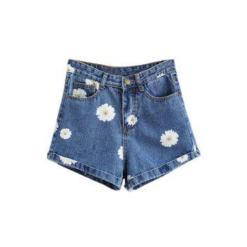 Casual Style High Waisted Flower Print Denim Women's Shorts