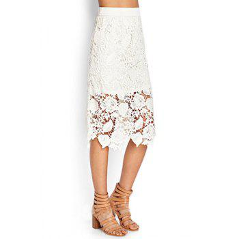 Sweet Style High-Waisted Crochet Flower Solid Color Lace Women's Midi Skirt