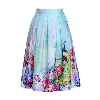 Stylish High Waist Peacocks Print A Line Women's Midi Skirt