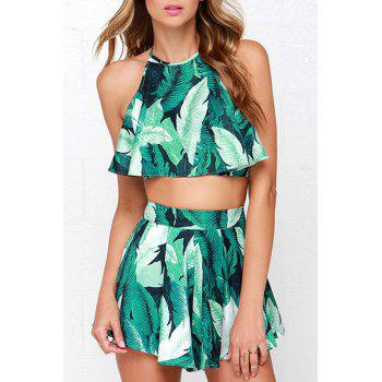 Fashionable Halter Neck Green Leaves Print Tank Top + Zipper Fly Shorts For Women