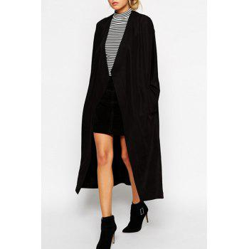 Fashionable Collarless Solid Color Long Sleeve Trench Coat For Women