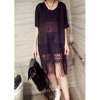 Casual V-Neck Batwing Sleeve Fringed Pure Color Women's Dress
