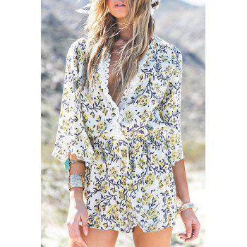 Fashionable Plunging Neck Lace Floral Print 3/4 Sleeve Romper For Women