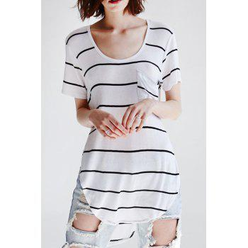 Casual Style Scoop Neck Short Sleeve Stripes Pocket Women's T-Shirt