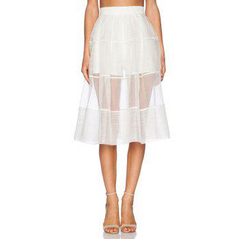 Stylish High Waisted White See-Through A Line Women's Skirt - WHITE WHITE