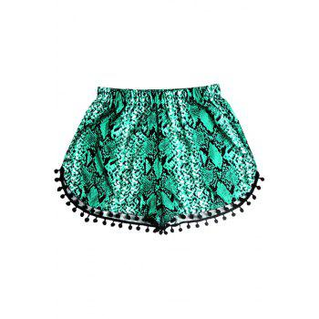 Stylish Elastic Waist Laciness Printed Women's Shorts