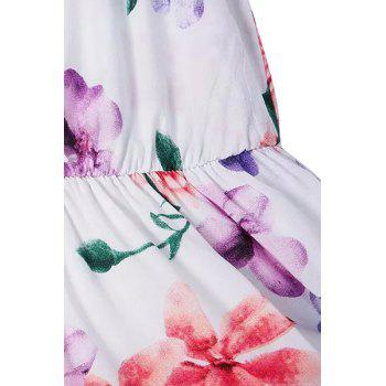Stylish Plunging Collar Sleeveless Floral Women's Playsuit - WHITE M