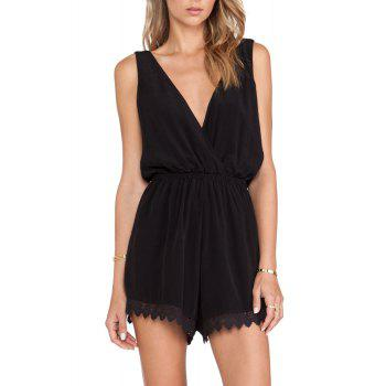 Stylish Plunging Neck Sleeveless Lace Spliced Women's Playsuit