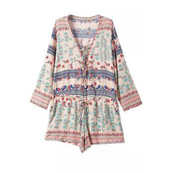 Fashionable V-Neck Tiny Floral Print Tie-Up Long Sleeve Romper For Women