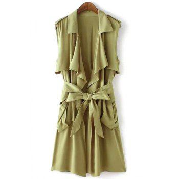 Stylish Turn-Down Collar Sleeveless Solid Color Women's Trench - ARMY GREEN L
