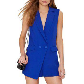 Fashionable Lapel Solid Color Pocket Sleeveless Romper For Women