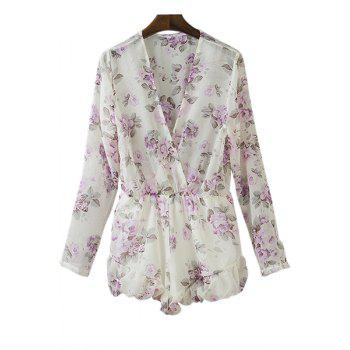 Stylish Plunging Neck Long Sleeve Floral Women's Playsuit