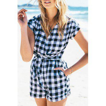 Fashionable V-Neck Plaid Tie-Up Short Sleeve Romper For Women