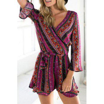 Stylish Deep V Neck Long Sleeve Ethnic Pattern Ruffles Women's Playsuit