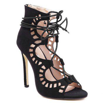 Sexy Criss-Cross and Hollow Out Design Sandals For Women - BLACK 37