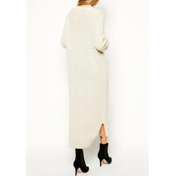 Stylish Women's Jewel Neck Solid Color Long Sleeve Hollow Out Sweater Dress - OFF WHITE ONE SIZE(FIT SIZE XS TO M)