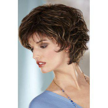 Vogue Curly Side Bang Fluffy Blonde Highlight Short Heat Resistant Synthetic Capless Women's Wig - COLORMIX
