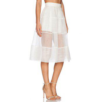 Stylish High Waisted White See-Through A Line Women's Skirt - WHITE M
