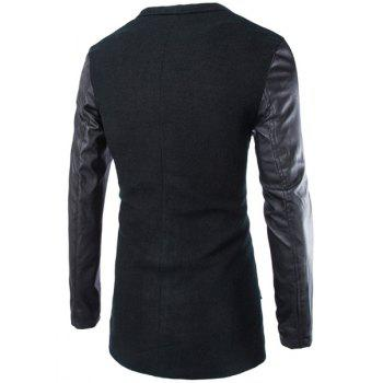 Slimming Lapel Stylish Large Pocket PU Leather Splicing Long Sleeve Woolen Blend Men's Trench Coat - BLACK 2XL