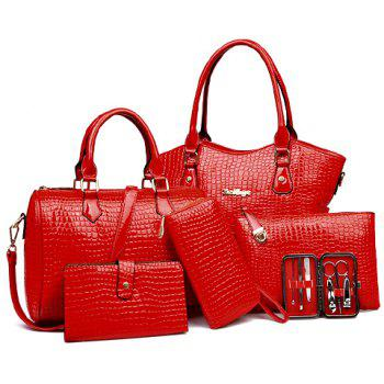 Crocodile Embossed Tote Handbag 6Pc Set - RED RED