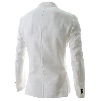 Slimming Lapel Stylish One Button Sutures Design Long Sleeve Men's Polyester Blazer - WHITE 2XL