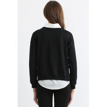 Fashionable Jewel Neck White Eyelash Print Long Sleeve Sweatshirt For Women - BLACK L