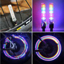 YX - FG191 2pcs 5 LED 7 Modes Cycling Tire American Valve Cap Light Button Switch Control