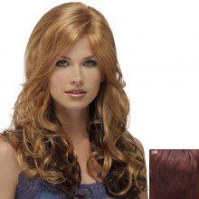 European Style Side Bang Fluffy Long Wavy Super Quality Real Human Hair Stylish Women's Capless Wig