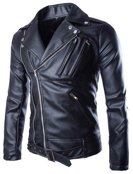 Slimming Lapel Stylish Solid Color Multi-Zipper Long Sleeve Men's PU Leather Jacket(with Belt) - BLACK M
