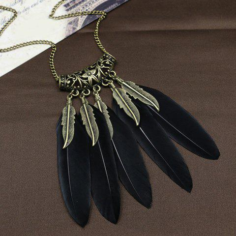 Boho Style Leaf Feather Tassel Sweater Chain - BLACK
