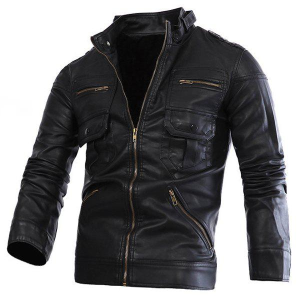 Slimming Stand Collar Trendy Solid Color Multi-Zipper Long Sleeve Men's PU Leather Jacket - BLACK M