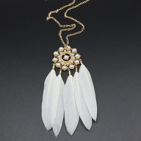 Sweet Feather Faux Pearl Sweater Chain Necklace For Women