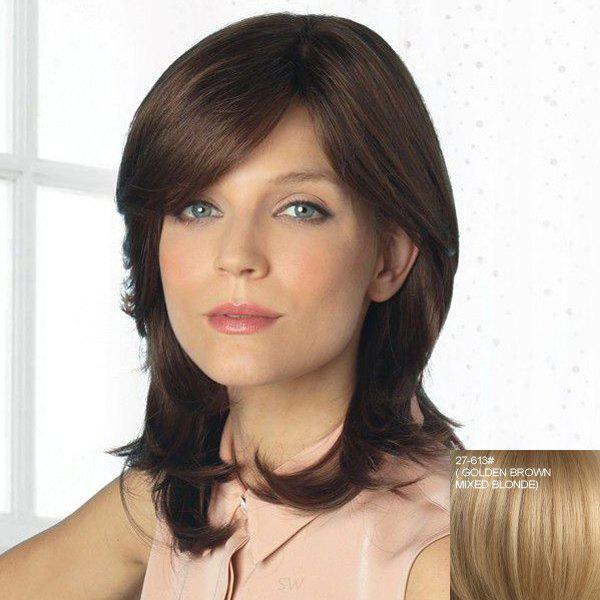 Charming Capless Fluffy Long Inclined Bang Vogue Human Hair Wavy Wig For Women - 2 / 3