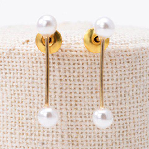 Pair of Sweet Faux Pearl Decorated Stud Earrings For Women - GOLDEN