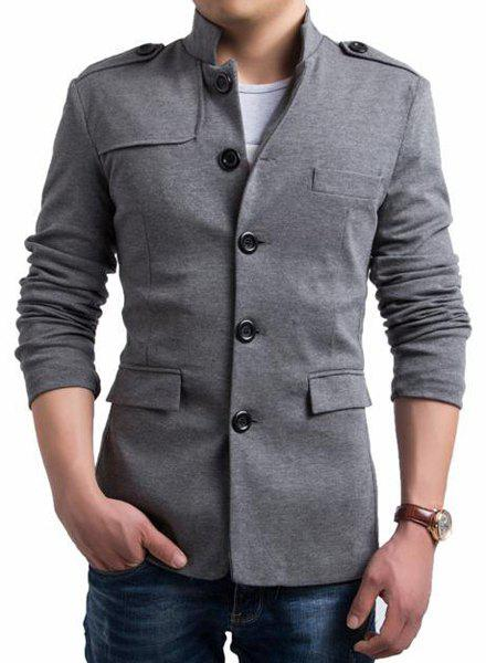 Slimming Stand Collar Stylish Solid Color Epaulet Design Long Sleeve Men's Cotton Blend Casual Blazer - GRAY L