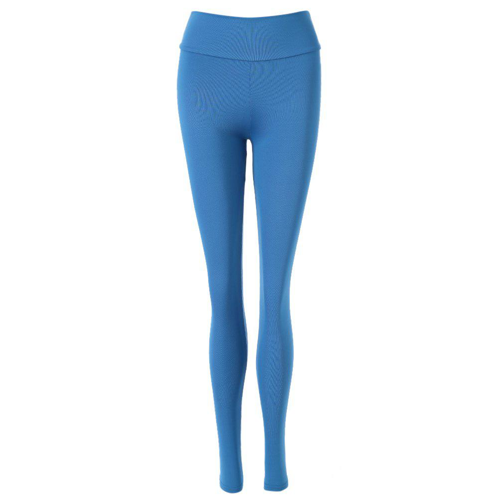 Active Elastic Waist Skinny Solid Color Women's Pants - BLUE ONE SIZE(FIT SIZE XS TO M)