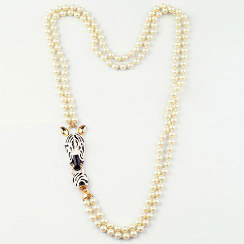 Stylish Chic Faux Pearl Zebra Sweater Chain Necklace For Women - MILK WHITE