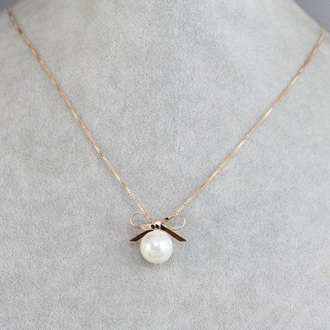 Simple Cute Faux Pearl Bow Necklace For Women - ROSE GOLD