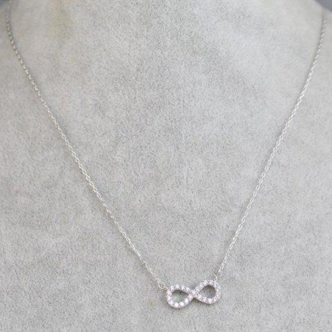 Simple Cute Rhinestone Eight Shape Necklace For Women - SILVER